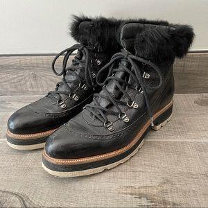 Napoleoni black leather fur platform boots
